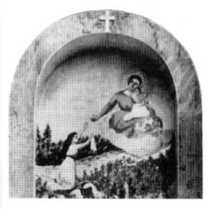Dipinto sull'ingresso del Santuario che ricorda l'episodio miracoloso