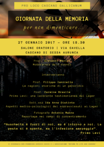 Giornata della Memoria 2017- Programma