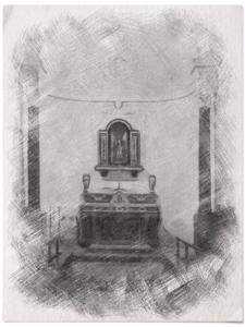 Disegno esemplificativo del probabile primo nucleo della chiesa madre