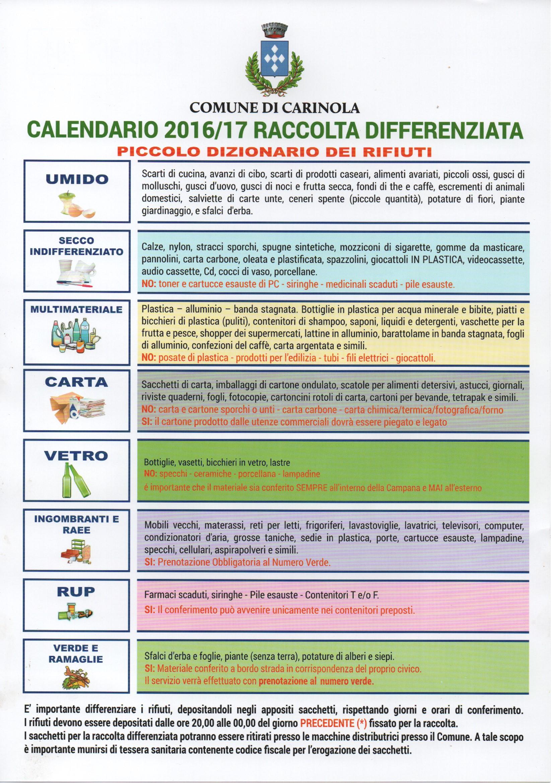 Calendario Raccolta Differenziata 2016-2017, 2