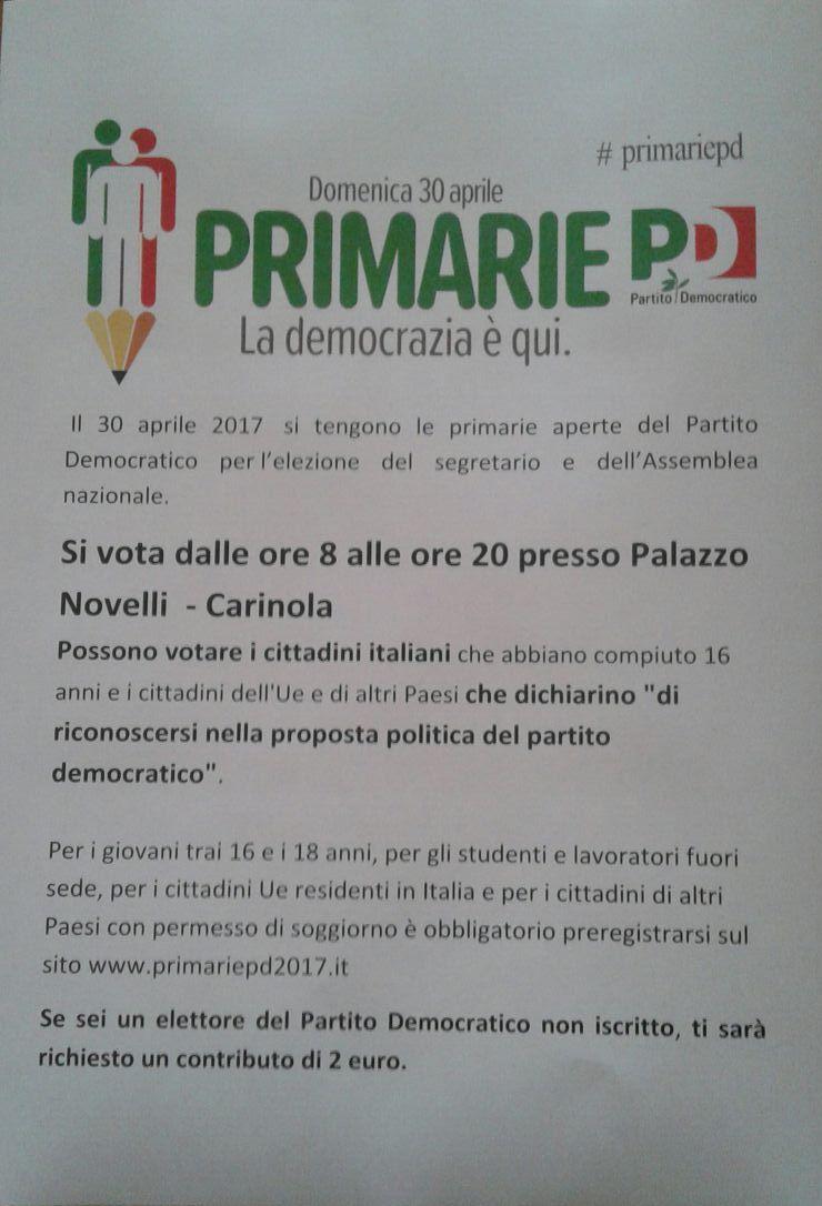 PD: primarie del 30 aprile
