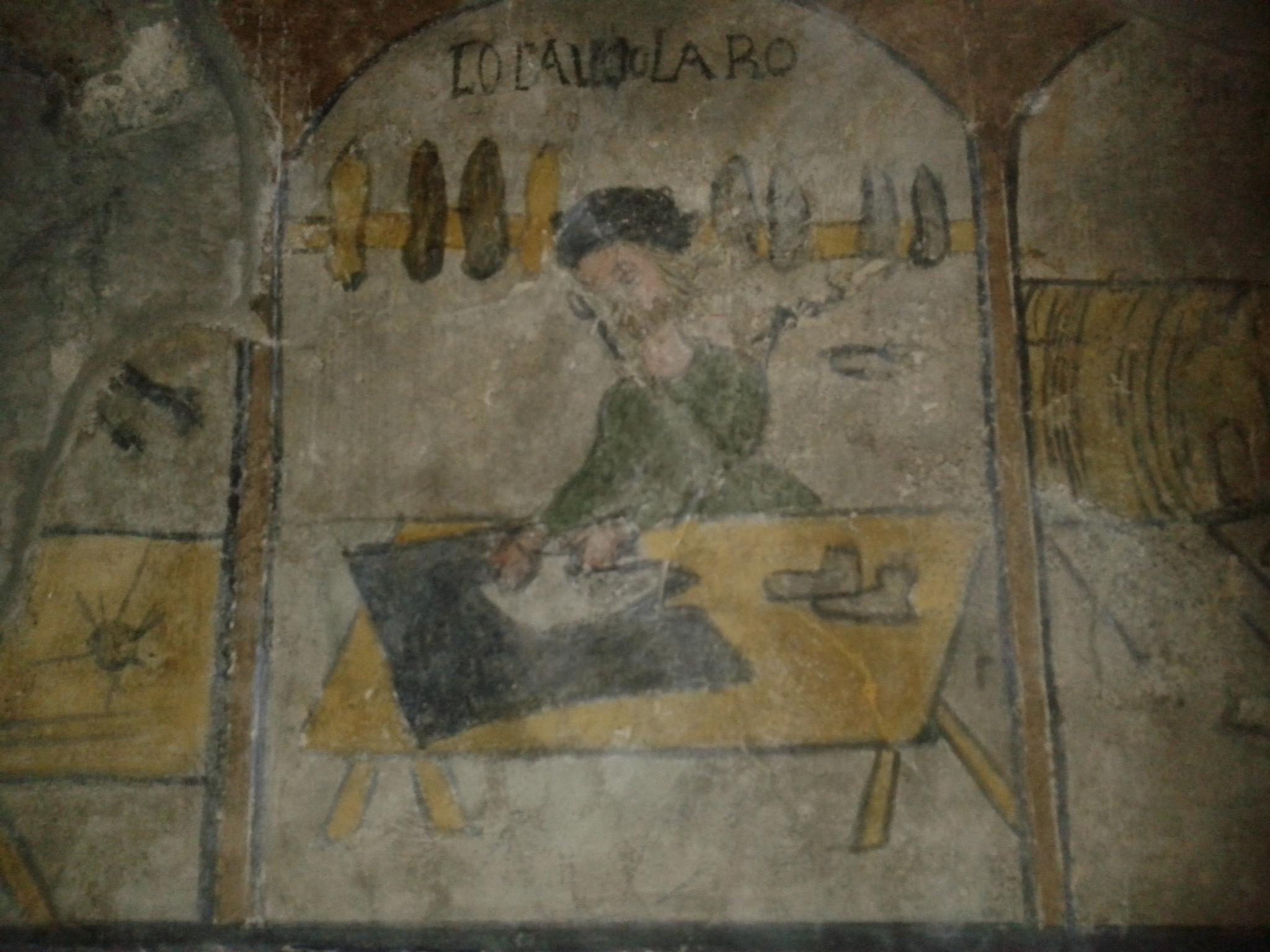 Uno degli antichi mestieri dipinti sulla parete destra dell''Episcopio