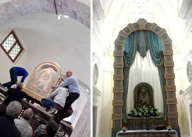 Traslazione-e sistemazione sull'altare maggiore della Sacra Icona di Ss Maria delle Grazie