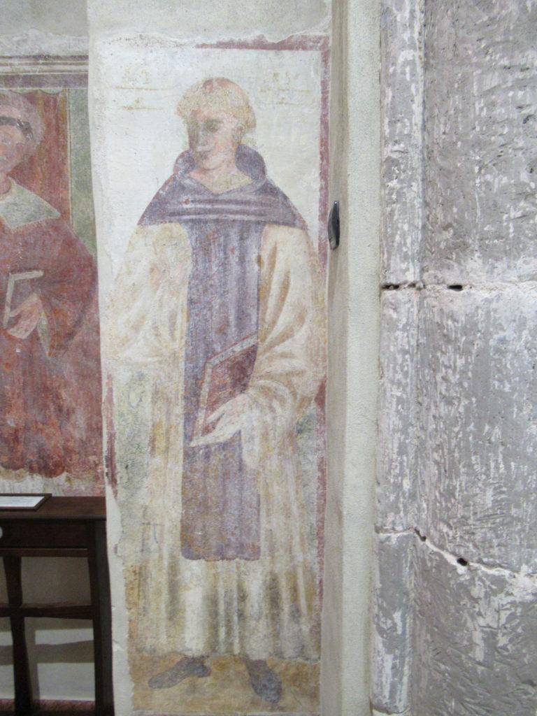 Affresco ritraente forse San Tommaso, dove si trova questa dicitura